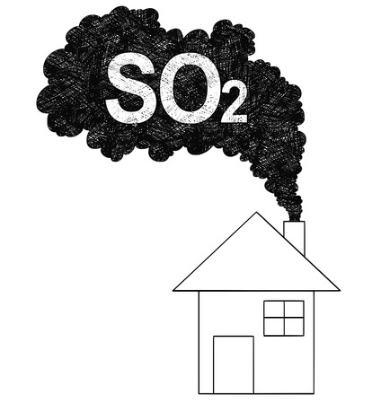Vector artistic pen and ink drawing illustration of smoke coming from house chimney into air. Environmental concept of sulfur dioxide or SO2 pollution. Vectores