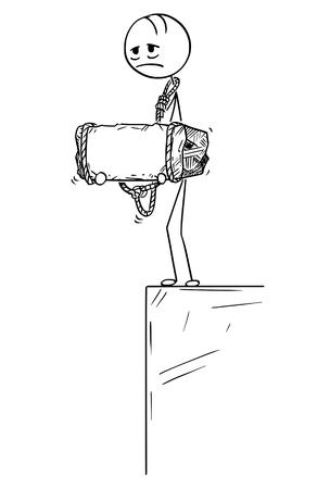 Palo de dibujos animados dibujo ilustración conceptual de hombre triste y deprimido o empresario de pie en el borde del precipicio o abismo y sosteniendo una gran piedra atada a su cuello.