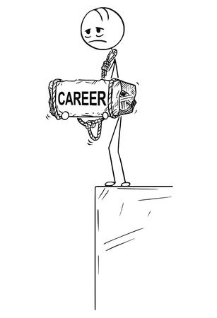 Palo de dibujos animados dibujo ilustración conceptual de hombre o hombre de negocios triste y deprimido de pie al borde del precipicio o abismo y sosteniendo una piedra grande con el texto de la carrera atado a su cuello. Concepto de crisis en el trabajo.