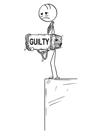Cartoon stick drawing conceptual illustration of sad and depressed man or businessman who feels guilt by something standing on edge of precipice or chasm and holding big stone with guilty text tied to his neck. Foto de archivo - 104917055