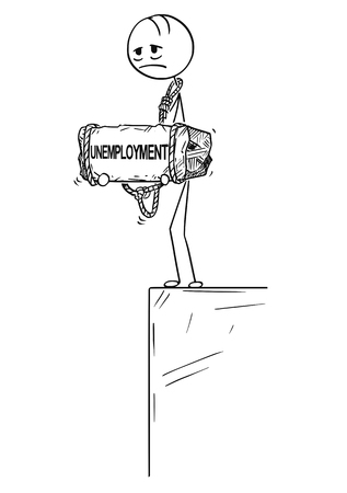 Cartoon stick drawing conceptual illustration of sad and depressed man or businessman standing on edge of precipice or chasm and holding big stone with unemployment text tied to his neck. Concept of crisis in work.