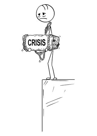 Palo de dibujos animados dibujo ilustración conceptual de hombre o hombre de negocios triste y deprimido de pie al borde del precipicio o abismo y sosteniendo una piedra grande con texto de crisis atado a su cuello.
