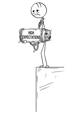 Cartoon stick drawing conceptual illustration of sad and depressed man or businessman standing on edge of precipice or chasm and holding big stone with high expectations text tied to his neck. Illustration