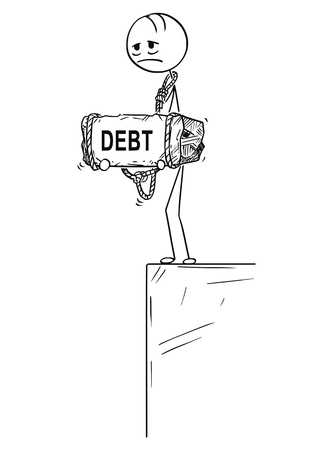 Palo de dibujos animados dibujo ilustración conceptual de hombre o hombre de negocios triste y deprimido de pie en el borde del precipicio o abismo y sosteniendo una gran piedra con el texto de la deuda atado a su cuello.