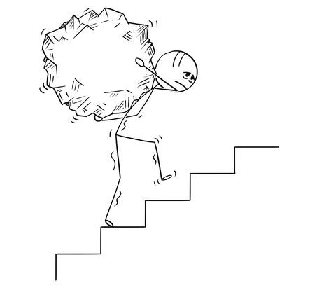 Kreskówka kij rysunek koncepcyjna ilustracja człowieka lub biznesmena, niosąc duży kawałek skały na górze. Koncepcja biznesowa wyzwania i wysiłku. Ilustracje wektorowe