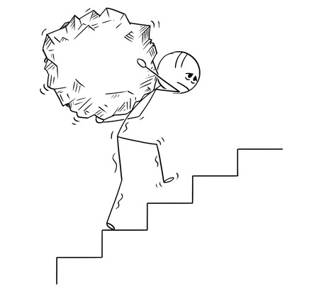 Cartoon stick drawing conceptual illustration of man or businessman carrying big piece of rock upstairs.Business concept of challenge and effort.