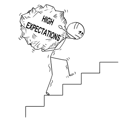 Cartoon stick drawing conceptual illustration of man or businessman carrying big piece of rock with text high expectations upstairs.Business concept of dreams and reality.