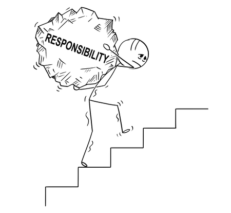 Cartoon stick drawing conceptual illustration of man or businessman carrying big piece of rock with text responsibility upstairs. Business concept of management and ethics.