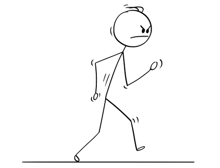 Cartoon stick drawing conceptual illustration of angry man or businessman walking.