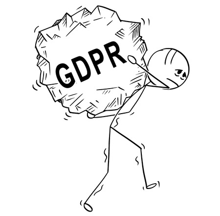 Cartoon stick drawing conceptual illustration of man or businessman carrying or walking with big piece of rock with text GDPR . Illustration