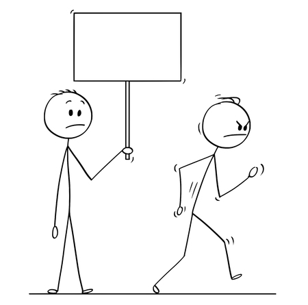 Cartoon stick drawing conceptual illustration of angry man or businessman leaving vigorously another man who is holding empty sign for your text. Векторная Иллюстрация