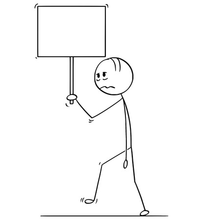 Cartoon stick drawing conceptual illustration of sad or depressed man or businessman walking with empty or blank sign.