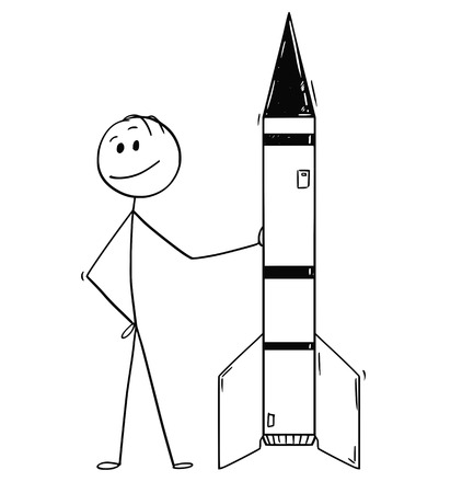Cartoon stick drawing conceptual illustration of politician or businessman leaning on missile or rocket. Concept of military industry and technology.