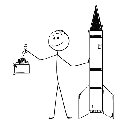 Cartoon stick drawing conceptual illustration of politician leaning on missile or military rocket and ready to push the red button. Concept of deterrence and nuclear war hazard. Illustration