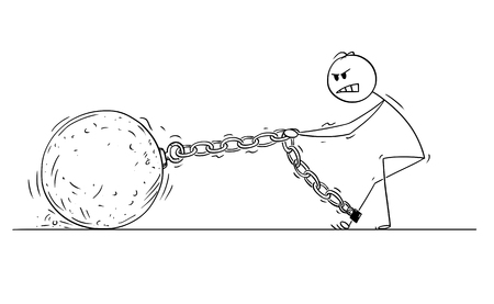 Cartoon stick drawing conceptual illustration of man or businessman pulling hard big Iron ball chained to his leg. There is space for your text on the ball.
