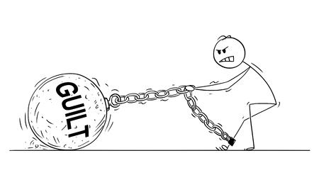 Cartoon stick drawing conceptual illustration of man or businessman pulling hard big Iron ball chained to his leg. Business concept of guilt that lie heavy on guilty person . Illusztráció