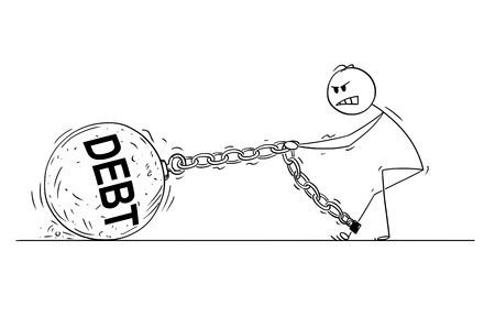 Cartoon stick drawing conceptual illustration of man or businessman pulling hard big Iron ball chained to his leg. Business concept of dept and financial problem.
