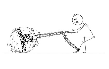 Cartoon stick drawing conceptual illustration of man or businessman pulling hard big Iron ball chained to his leg. Concept of low self-confidence limiting affected person .