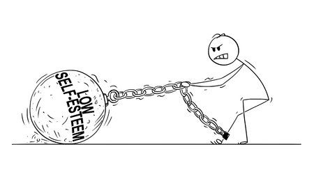 Cartoon stick disegno illustrazione concettuale dell'uomo o imprenditore tirando duro grande palla di ferro incatenato alla sua gamba. Concetto di bassa autostima che limita la persona colpita.