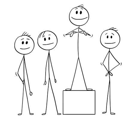 Cartoon stick man drawing conceptual illustration of team of businessmen and the team leader. Concept of teamwork and leadership.