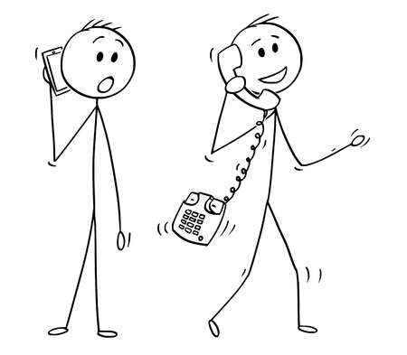Cartoon stick drawing conceptual illustration of walking man or businessman making phone call with old table phone instead of mobile cell phone. Another man with smartphone is looking at him unbelievingly.