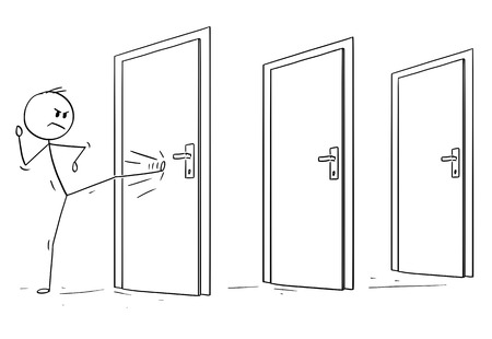Cartoon stick drawing conceptual illustration of man or businessman kicking the locked door. First of many in his way. Business concept of overcoming obstacles.