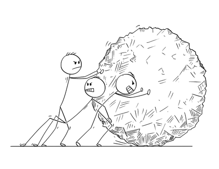 Cartoon stick man drawing conceptual illustration of team of businessmen pushing big stone ball or rock. Business concept of teamwork and cooperation.