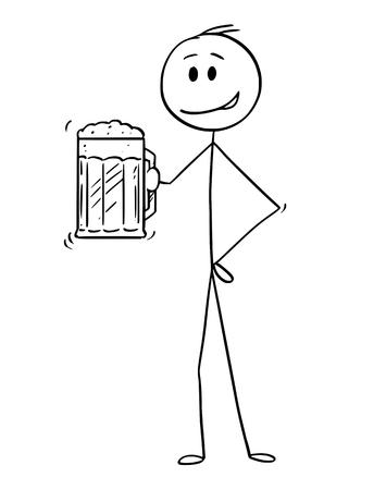 Konzeptionelle Illustration der Karikaturstabzeichnung des Mannes, der einen halben Liter oder einen halben Liter oder ein Pint oder einen Becher Bier hält. Vektorgrafik