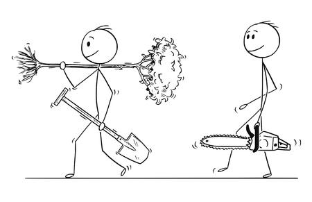 Cartoon-Stick zeichnet konzeptionelle Illustration eines Mannes, der mit Spaten geht, um ein Loch zu graben, um einen Baum zu pflanzen, ein anderer Mann mit Kettensäge wird es abschneiden. Konzept der Ökologie und Umwelt- oder Walderhaltung. Vektorgrafik