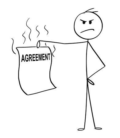 Cartoon stick drawing conceptual illustration of angry or disgusted man or businessman holding unfair or unethical agreement.