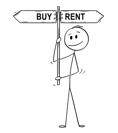 Cartoon stick drawing conceptual illustration of man or businessman holding arrow signpost or guide post or sign with past or future text.