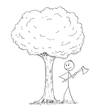 Cartoon stick drawing illustration of man or lumberjack with axe or ax chopping down the tree Vektorové ilustrace