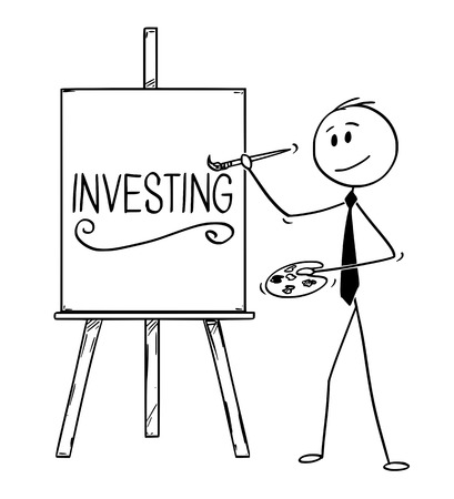Cartoon stick man drawing conceptual illustration of businessman artist holding brush and palette and writing word investing on canvas.