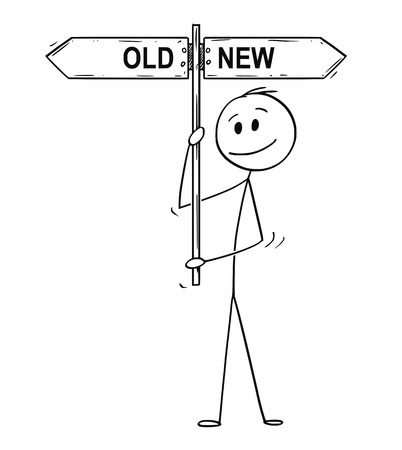 Cartoon stick drawing conceptual illustration of man or businessman holding arrow signpost or guide post or sign with old or new text.