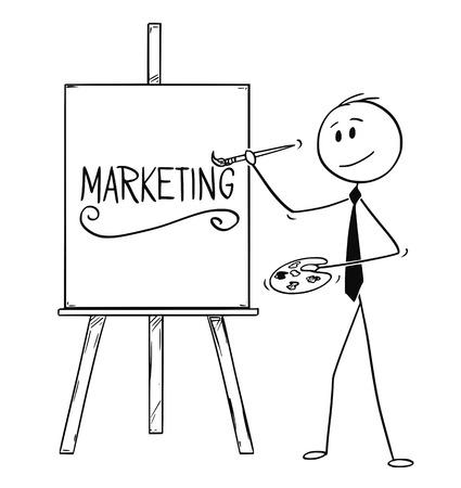 Cartoon-Stick-Mann, der konzeptionelle Illustration eines Geschäftsmannes zeichnet, der Pinsel und Palette hält und Wortmarketing auf Leinwand schreibt.