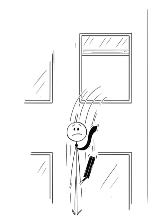 Cartoon stick man drawing conceptual illustration of businessman or banker jumping out of the window. Business concept of financial crisis or bankruptcy.