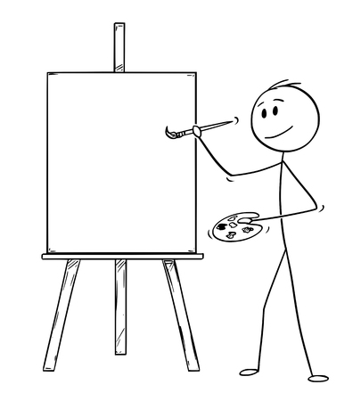 Cartoon stick drawing illustration of artist holding brush and palette and ready to paint on the canvas on easel. 向量圖像