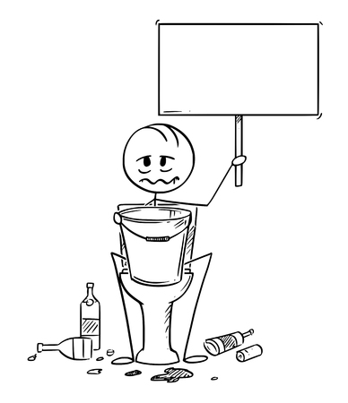Cartoon stick drawing conceptual illustration of sick or drunk man sitting on toiled with bucket for vomiting and empty sign in hands. Empty bottles are lying around. Stock Illustratie