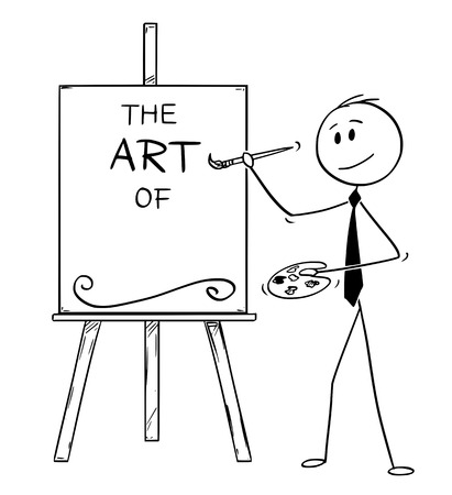 Cartoon stick man drawing conceptual illustration of businessman artist holding brush and palette and writing the art of on canvas. Its ready to add your subject.