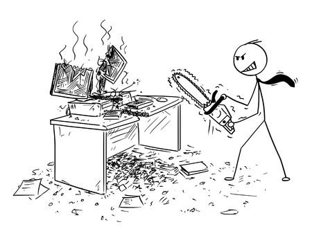 Cartoon stick man drawing conceptual illustration of angry or mad businessman with chainsaw destroying computer and working desk. Business concept of frustration and repressed aggression. Illustration