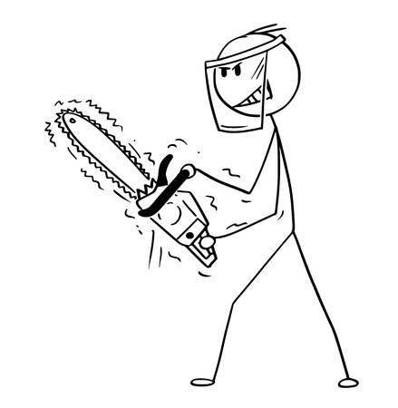 Cartoon stick drawing conceptual illustration of man or lumberjack with chainsaw and protective face shield.