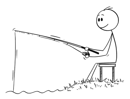Cartoon stick drawing conceptual illustration of man or fisherman sitting on the shore of lake or river and fishing patiently. Ilustração