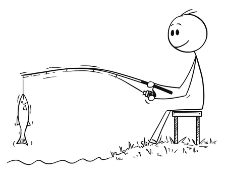 Cartoon stick drawing conceptual illustration of man or fisherman sitting on the shore of lake or river and catching a fish.