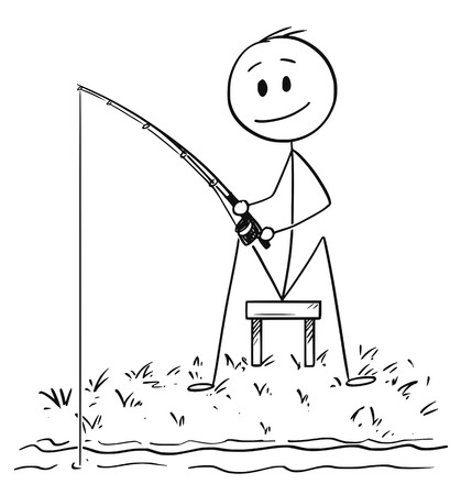 Cartoon stick drawing conceptual illustration of man or fisherman sitting on the shore of lake or river and fishing patiently. Stock Illustratie