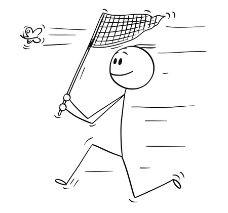 Cartoon stick drawing conceptual illustration of man running with net and catching a butterfly.