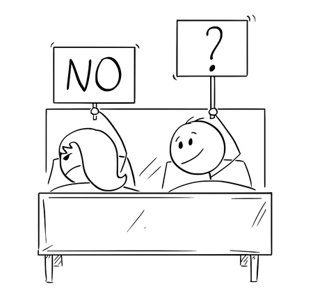 Cartoon stick drawing conceptual illustration of couple in bed. Man wants intercourse, woman is rejecting and going to sleep. Concept of life problem.
