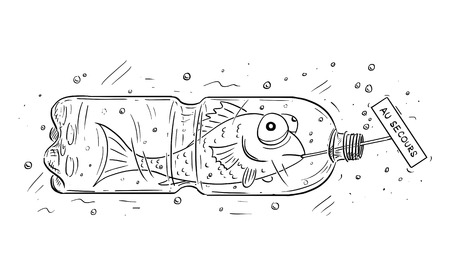 Cartoon drawing conceptual illustration of fish trapped in PET or plastic bottle and holding French au secours as help sign. Concept of environmental and water pollution.