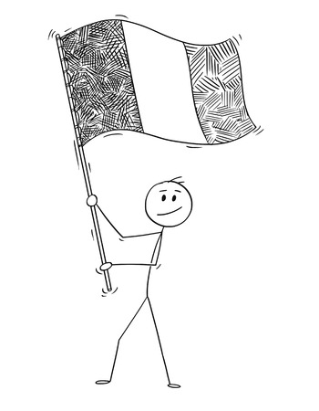 Cartoon drawing conceptual illustration of man waving the flag of Republic of Ireland or Italy, Italian Republic.