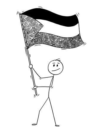 Cartoon drawing conceptual illustration of man waving the flag of State of Palestine.