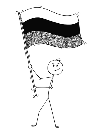 Cartoon drawing conceptual illustration of man waving the flag of Russian Federation or Russia.